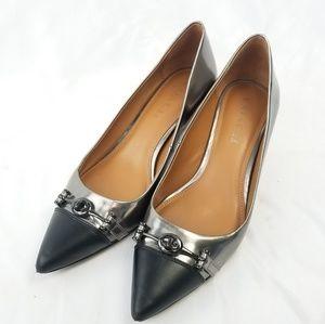Coach heels size 8 Black gray silver